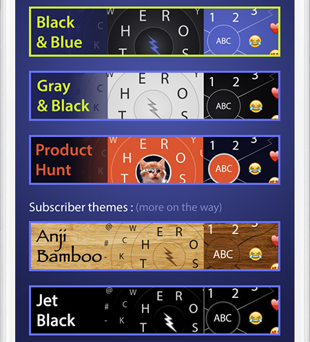 Screenshot of HERO Keyboard's theme selection.